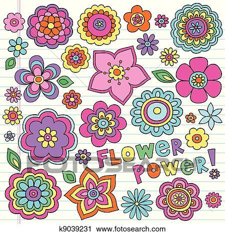 clipart of flower power groovy doodles set k9039231 search clip rh fotosearch com flower power border clipart Wild Flowers