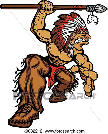 clipart of indian chief mascot with spear k9032212 search clip art rh fotosearch com clipart indian arrow clip art indian princess
