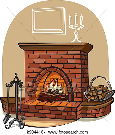 Clip Art Of Fireplace K9044167 Search Clipart