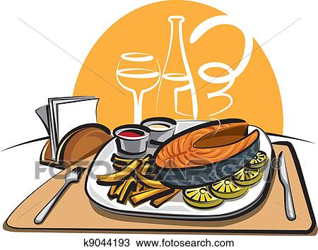Clipart of fried fish and chips k9044193 - Search Clip Art ...