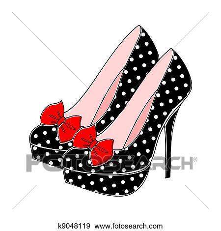 Clip Art of Polka Dot High Heels k9048119 - Search Clipart ...