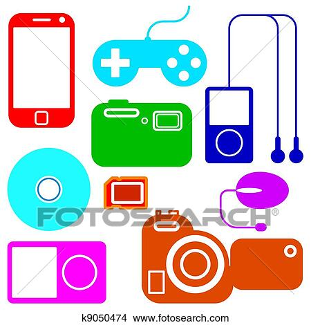 Clipart of Icon set of electronic gadgets k9050474 ...