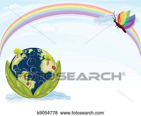Clip Art Of Green Earth Ecology K9054778 Search