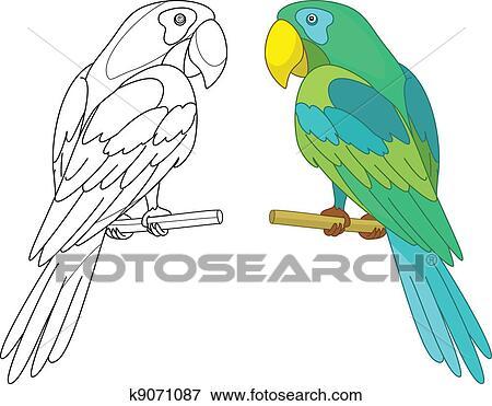 Clip Art of Bird parrot on a perch k9071087 - Search Clipart ...