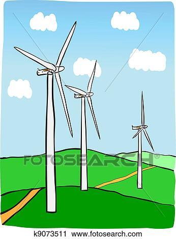 Clipart of Wind power plant k9073511 - Search Clip Art ...