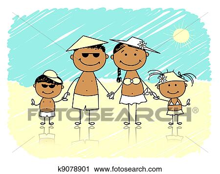 Clipart Of Summer Holidays Happy Family On The Beach K9078901