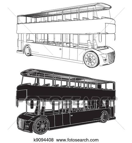 Clip Art of Bus Double Decker k9094408 - Search Clipart ...