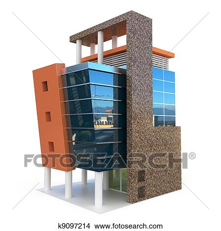 Drawings of 3d building on white k9097214 - Search Clip Art ...
