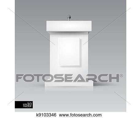 Clip Art of Rostrum/podium with microphone k9103346 ...