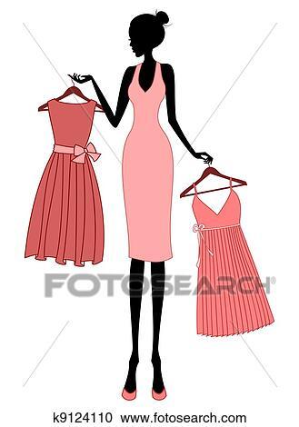 Clipart shoppen f r a kleid k9124110 suche clip art for Elegante wandbilder