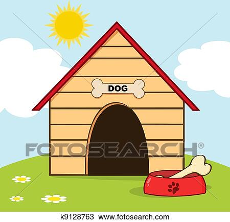 Clip Art Dog House Clipart clipart of a dog inside house k12896114 search clip art with bowl on hill