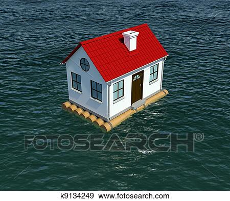 Banque d 39 illustrations maison sur radeau bois flotte for Voir ma maison en 3d