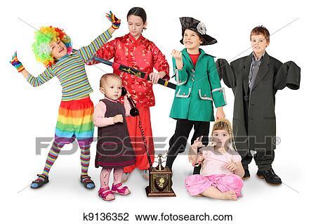stock foto viele kindern in kost me clown. Black Bedroom Furniture Sets. Home Design Ideas