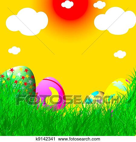 Clipart Of Easter Eggs On Grass And Yellow Background K9142341