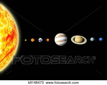 Drawing of Solar system k9146473 - Search Clipart ...