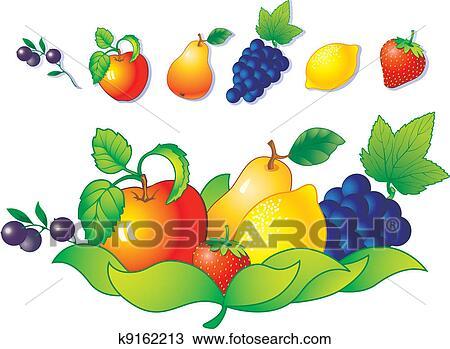 绘图 水果, 以及, 浆果
