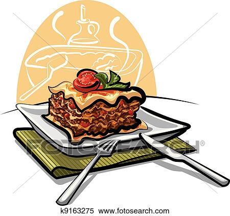 Clipart of fresh baked lasagna k9163275 - Search Clip Art ...