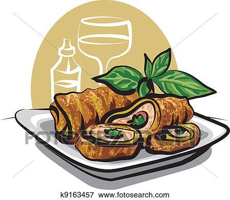Clip Art of Fried chicken spring rolls k9163457 - Search ...