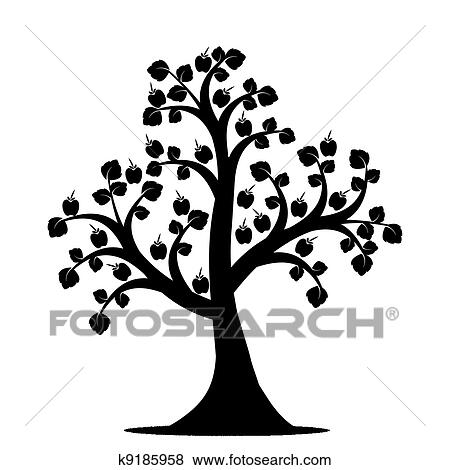 apple tree clipart black and white. apple tree isolated on white background clipart black and r