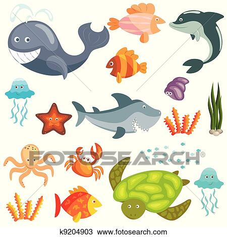 Clipart animali marini set k9204903 cerca clipart - Clip art animali marini ...