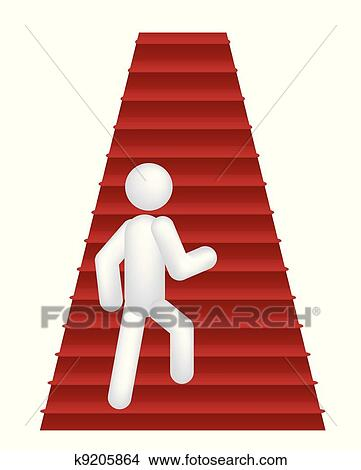 Clipart of person walking up by steps k9205864 - Search Clip Art ...