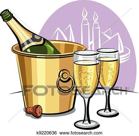 Clip art bottiglia champagne in un secchiello for Secchiello portaghiaccio