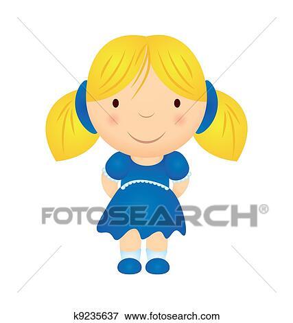 Colección de ilustraciones - vector, caricatura, niña, en, vestido ...