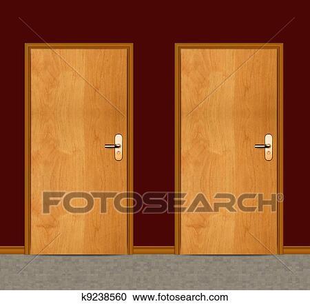 Banque d 39 illustrations appartement porte bois k9238560 recherchez des cliparts des - Porte appartement bois ...