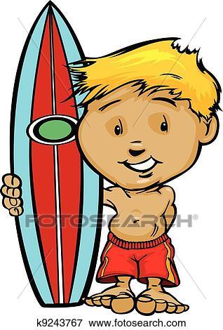 clip art of kid surfer boy holding surfboard vector image k9243767 rh fotosearch com Cute Surfer Clip Art Cute Surfer Boy Clip Art