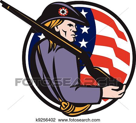 clipart of american patriot minuteman with rifle and flag k9256402 rh fotosearch com patriotic clipart free patriotic clipart black and white