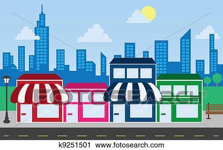Clipart magasin devants et horizon b timents for Ma galerie marchande