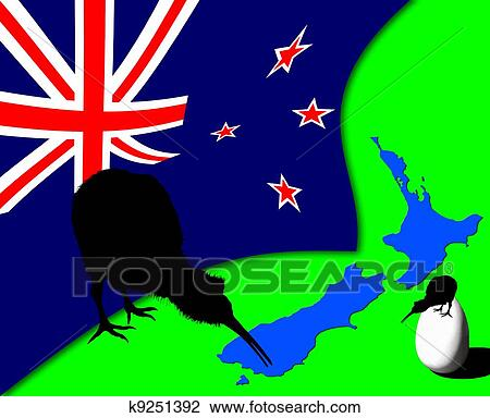 Clip art of new zealand flag kiwi bird silhouette with map and clip art new zealand flag kiwi bird silhouette with map and kiwi egg illustration sciox Choice Image
