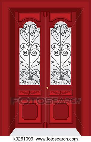 Clip Art Of Antique Door K9261099 Search Clipart