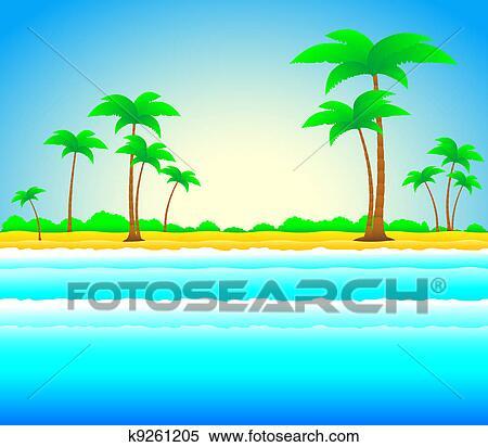 Archivio illustrazioni estate spiaggia con palma e for Mare clipart