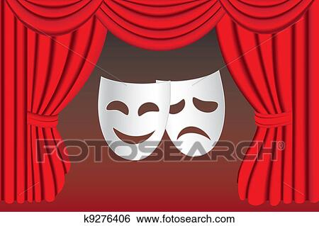 Clip Art Of Theatre Masks And Curtain K9276406 Search