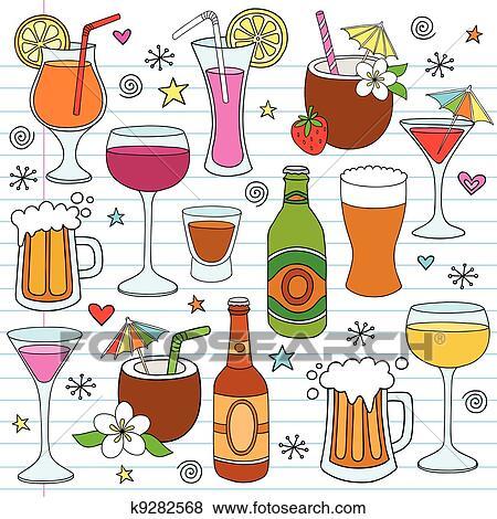 Clip Art Of Beer Wine Drinks Vector Doodle Set K9282568