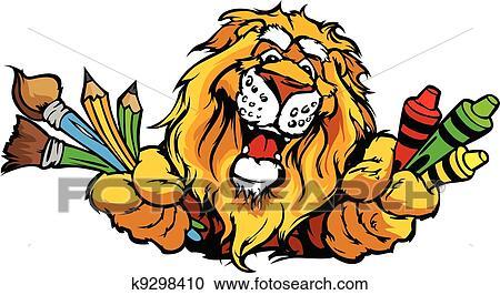 clipart of happy preschool lion mascot cartoon vector image k9298410 rh fotosearch com