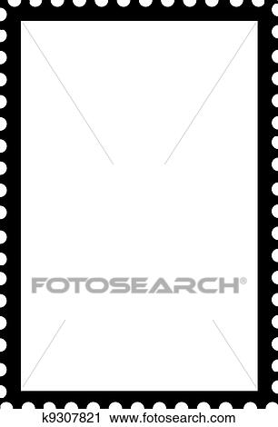 white rectangle black outline. blank open postage edge outline portrait template black on white to create own stamp rectangle