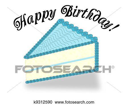 Stock Illustrations Of A Slice Birthday Cake K9312590