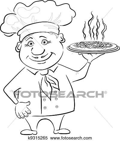 Clipart - koch, hält, a, heiße, pizza, kontur k9315265 - Suche ...   {Koch bei der arbeit clipart 32}
