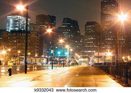 手绘图 波士顿, 城市街道, 夜间图片