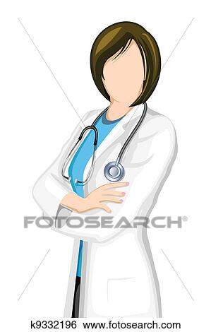 Clip Art of Female Doctor k9332196 - Search Clipart, Illustration ...