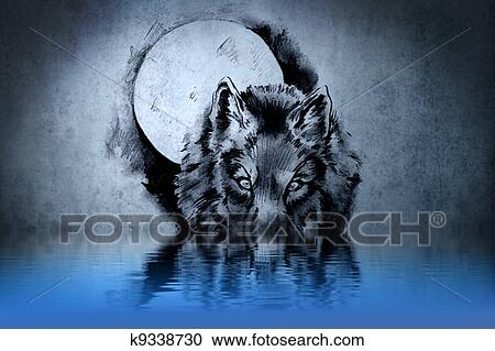 Stock Illustrations Of Tattoo A Wolfs Head With Water Reflections
