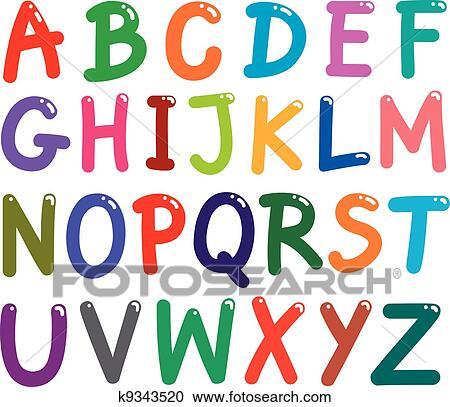 clipart of colorful capital letters alphabet k9343520 search clip rh fotosearch com clipart letters of the alphabet free Letter Clip Art