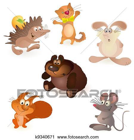 Clipart satz von sechs lustige tiere maus r fotosearch