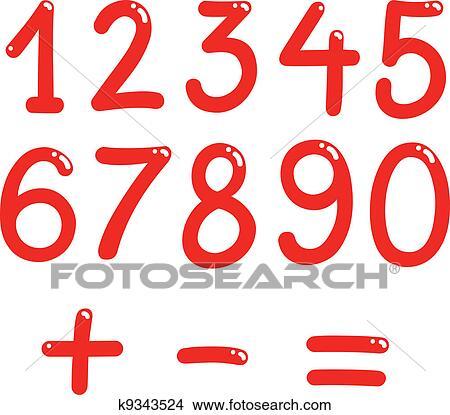 剪贴画 数字, 从, 零, 对于, 九