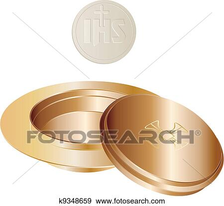 Clip Art of paten and wafer k9348659 - Search Clipart ...