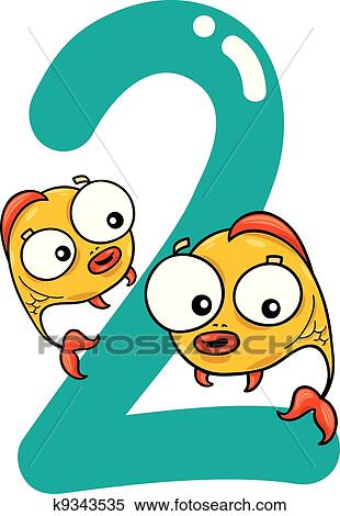 clipart of number two and 2 fish k9343535 search clip art rh fotosearch com number 2 clipart black and white number 2 pencil clipart