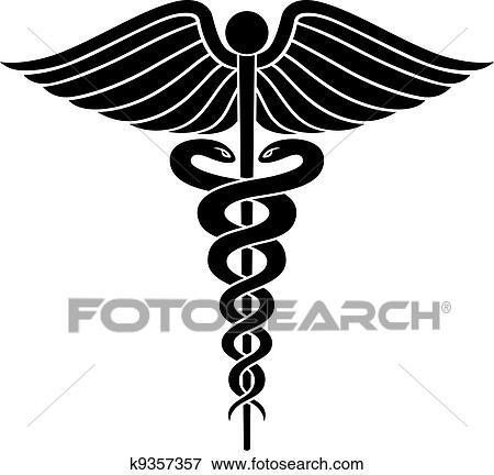 Clip Art Of Caduceus Medical Symbol Ii K9357357 Search Clipart