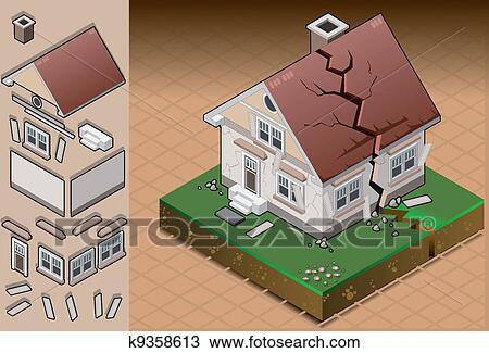 剪贴画 等容线, 房子, 击中, 在以前, 地震